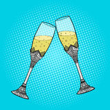 Wedding glasses of champagne pop art style vector Stock Photography