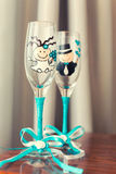 Wedding glasses decorated with drawing Royalty Free Stock Image