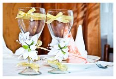 Wedding glasses decorated Royalty Free Stock Photo