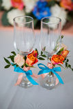 Wedding glasses decorations Royalty Free Stock Images