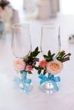 Wedding glasses decorations Stock Photography
