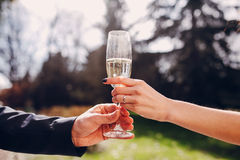 Wedding glasses in hands Royalty Free Stock Photography