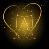 Wedding glasses with heart in gold color Royalty Free Stock Photography