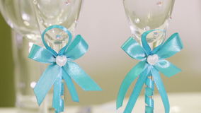 Wedding glasses with initial. Decorated wedding glasses with initials stock video footage