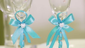 Wedding glasses with initials. Decorated wedding glasses with initials stock video