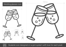 Wedding glasses line icon. Stock Photo