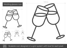 Wedding glasses line icon. Royalty Free Stock Photo