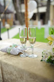 Wedding glasses and rings Royalty Free Stock Photo