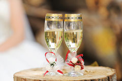 Wedding Glasses on Snag Royalty Free Stock Photos