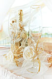 Wedding glasses and wine Stock Images