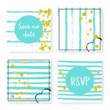 Wedding glitter confetti on stripes, invitation set Stock Image