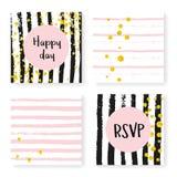 Wedding glitter confetti on stripes, invitation set Royalty Free Stock Photography