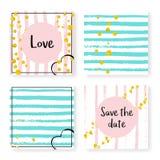 Wedding glitter confetti on stripes, invitation set Stock Photography
