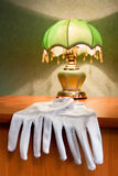 Wedding gloves on the table Royalty Free Stock Photo