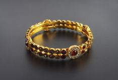 Wedding gold bracelets Royalty Free Stock Photos