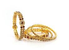 Wedding gold bracelets Stock Images