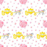 Wedding Gold Carriage Seamless pattern. Seamless pattern with watercolor hand drawn horses, carriages and bunches isolated on white background Royalty Free Stock Photography