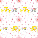 Wedding Gold Carriage Seamless pattern. Seamless pattern with watercolor horses, carriages and orchids isolated on white background Stock Image