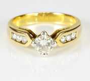 Wedding gold diamond ring Royalty Free Stock Photos