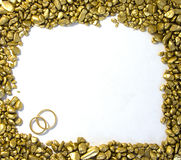Wedding Gold frame. Photo of wedding gold frame whit wedding rings Royalty Free Stock Images