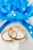 Wedding gold ring, decorations for a celebration. Stock Image