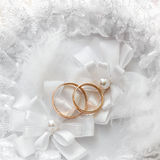 Wedding gold ring, decorations for a wedding Royalty Free Stock Photo