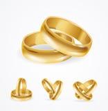Wedding Gold Ring Set. Vector Stock Photos