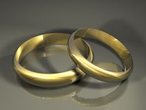 Wedding gold rings. 3d rendering Stock Photos