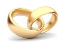 Wedding gold rings 3d. Isolated. Symbol of love Royalty Free Stock Photos