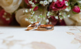 Wedding gold rings on a background of red roses Royalty Free Stock Image