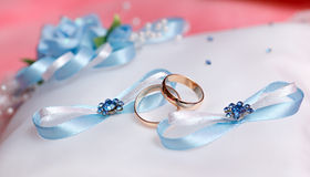 Wedding gold rings bride and groom Royalty Free Stock Image