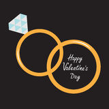Wedding  gold rings. Happy Valentines Day card. Stock Photo