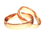 Wedding gold rings isolated on white stock illustration