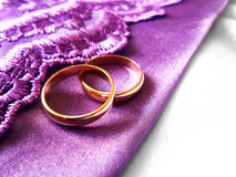 Wedding gold rings on purple and white fabric Stock Image