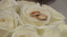 Wedding Gold Rings On The Roses Flowers. Wedding Gold Rings On The Roses Bouquet stock video