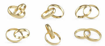 Wedding gold rings set, collection isolated on white background. 3d rendering Royalty Free Stock Photos