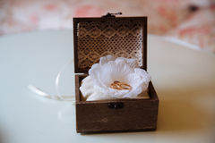 Wedding gold rings in a wooden box on the white background. Concept of love Royalty Free Stock Image