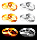 Wedding gold and silver rings Royalty Free Stock Images