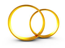 Wedding golden rings couple on white background Royalty Free Stock Photos