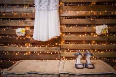 Wedding Gown and Shoes Royalty Free Stock Images