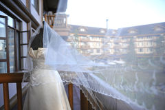 Wedding Gown and Veil Royalty Free Stock Images
