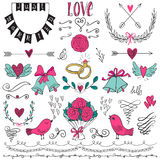 Wedding graphic set, arrows, hearts, birds, bells, rings, laurel, wreaths, ribbons and labels. Royalty Free Stock Image