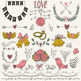 Wedding graphic set, arrows, hearts, birds, bells, rings, laurel, wreaths, ribbons and labels. Stock Image
