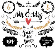 Wedding graphic set, arrows, hearts, laurel, wreaths, curls and Stock Image