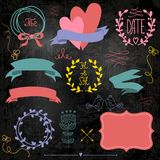 Wedding graphic set on chalkboard. Royalty Free Stock Photo