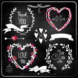 Wedding graphic set on chalkboard. Royalty Free Stock Images