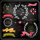 Wedding graphic set on chalkboard. Stock Images