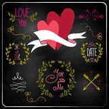 Wedding graphic set on chalkboard. Stock Photography