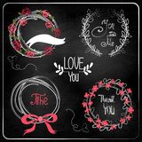 Wedding graphic set on chalkboard. Royalty Free Stock Photography