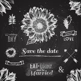 Wedding graphic set. Chalkboard design elements. Ribbons, flower Stock Photography
